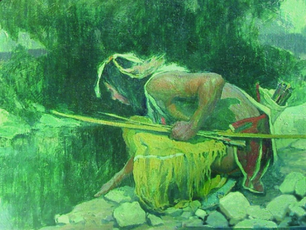 Indian Kneeling by Spring, © E. I. Couse, 19 X 23 inches
