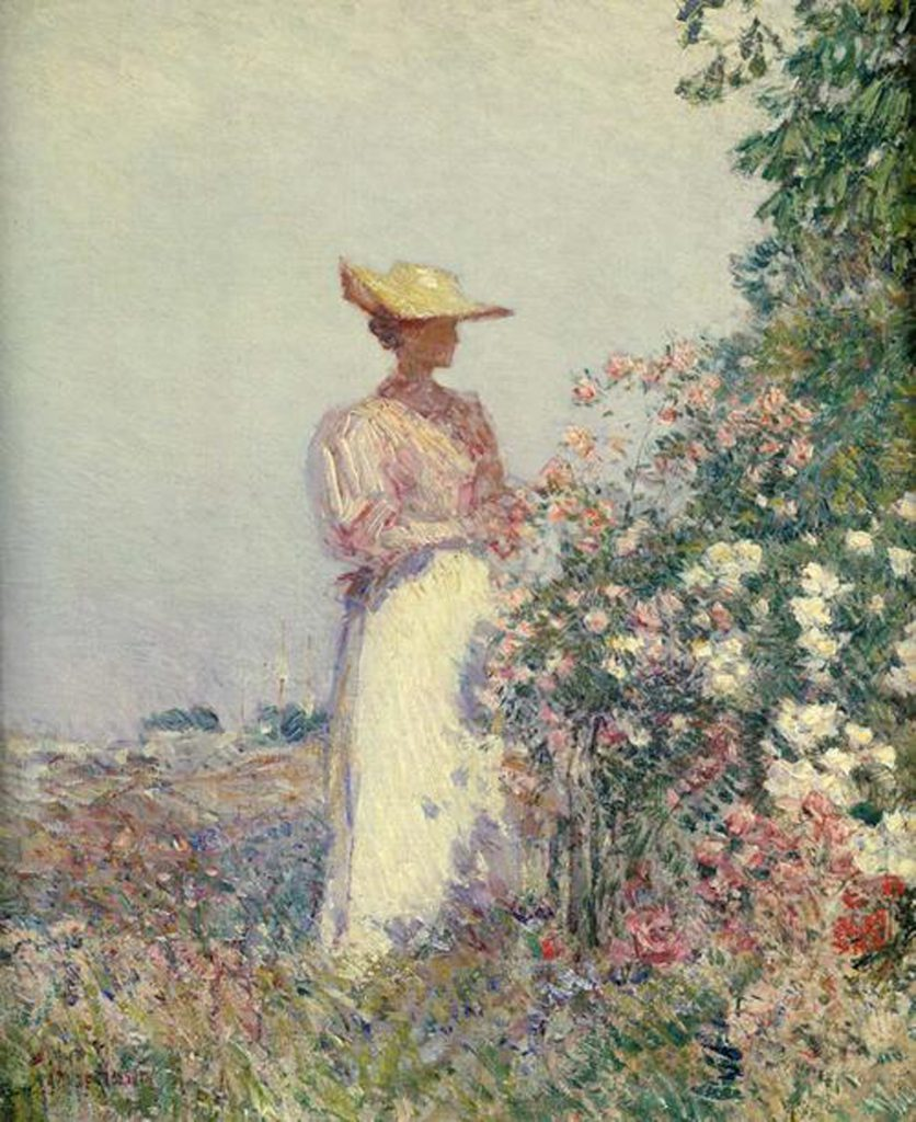 Lady in a Flower Garden, © Childe Hassam, oil on canvas, 17.5 X 14.5 inches